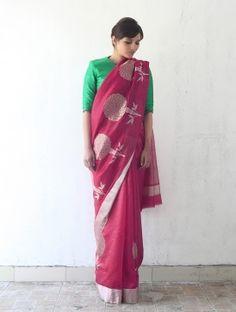 Pink Silk & Zari Marigold Saree