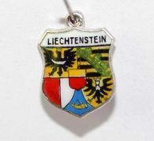 Vintage 800 Silver Enamel Travel Shield Bracelet Charm Liechtenstein