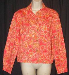 $24.99 Coldwater Creek Orange Floral 100% Cotton Light Weight Jacket M