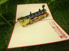 Old Train 3d Pop-Up Card Pop Up, Transportation, Train, 3d, Cards, Popup, Maps, Playing Cards, Strollers