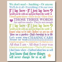 8x10 inch Lyrics Print - Snow Patrol - Chasing Cars by SmartCreative, £10.00