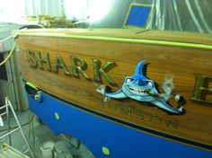 #TRANSOM: Shark Byte, Rumson #Boat #Transom #BoatTransom  TRANSOM #TECHNIQUE: #GoldLeaf #CustomGraphics    #BOAT #BUILDER #BoatBuilder: #BaylissBoatworks, #NorthCarolina