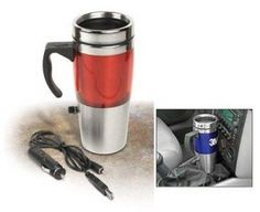 """Auto Heated Travel Coffee Tea Mug Cup 12V and USB.Red Portable SUV Truck. Plugs into your USB port or 12V auto adapter... keeps your coffee steaming while you work or drive Double insulated Stainless Steel Mug Includes one USB plug for your desktop & one 12V plug for the car Spill proof lid, Soft rubberized finish, Soft grip rugged handle Measure: 7.6""""H x 3""""W x 3""""D. 16 oz. capacity    Shipping Address -VERY IMPORTANTIf your shipping address is different than your Paypal address, please add…"""