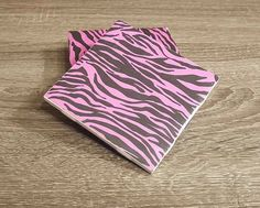 Pink Zebra Coasters  Zebra Design  Teen Decor  by CoastalsCoasters