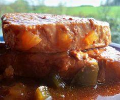 Slow cooker pork chops.Pork chops with vegetables cooked in crock pot.