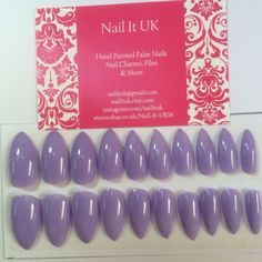 Hand Painted Full Cover False Nails. Stiletto Pastel Purple Easter Spring Nails