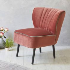 Are you interested in our Blush Pink Velvet Cocktail Chair? With our Mid-Century Chair you need look no further. Living Room Upholstery, Upholstery Cushions, Upholstery Foam, Furniture Upholstery, Upholstery Cleaner, Pink Furniture, Upholstery Repair, Retro Furniture, Bedroom Chairs Uk