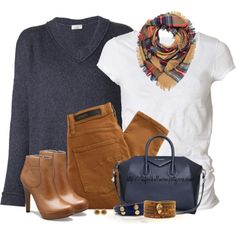 Casual Brown & Navy, created by tufootballmom on Polyvore