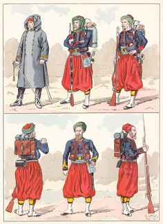 French; Zouaves, 1850 from Hector Large's Le Costume Militaire Vol III,