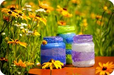 jam jars with tea lights in the them-glued wrapped in coloured tissue paper then hung on trees or around a patio using garden wire! So pretty! Fun Projects For Kids, Activities For Kids, Crafts For Kids, Diy Crafts, Recycled Jars, Recycled Crafts Kids, Jam Jar, Light Crafts, Spring Crafts