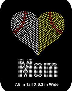 Softball/Baseball Mom - Grandma - Nana - Aunt - Rhinestone Iron-On Shirt Applique  -  Sports - Iron-On - Bling  T-shirt Transfer  - DIY - pinned by pin4etsy.com