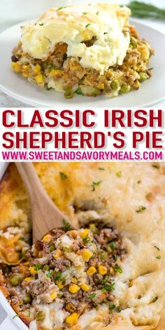 Quiche Recipes Discover Easy Shepherds Pie [video] - Sweet and Savory Meals Shepherds Pie is one of the best comfort foods with Irish roots. It is a delicious casserole with ground lamb vegetables such as carrots corn and peas topped with mashed potatoes. Easy Pie Recipes, Ground Beef Recipes Easy, Best Dinner Recipes, Irish Recipes, Meals To Make With Ground Beef, Ground Chuck Recipes, Hamburger Meat Recipes Ground, Church Potluck Recipes, Crockpot Recipes