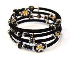 Black, yellow, white and silver adjustable wrap bracelet with glass and velvet beads on memory wire by PurpleTurtleStore on Etsy https://www.etsy.com/au/listing/195322936/black-yellow-white-and-silver-adjustable