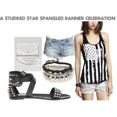 Studded Star Spangled Banner Celebration #4thofjuly #fashion #whattowear #stevemadden #rebeccaminkoff