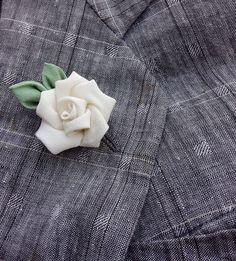 Mens Lapel Pin Flower Lapel Pin Ivory Rose Lapel Kanzashi Brooch Custom Lapel Pins Men Silk Boutonniere Wedding Lapel Flower Groomsman Gift by exquisitelapel on Etsy https://www.etsy.com/listing/244368533/mens-lapel-pin-flower-lapel-pin-ivory