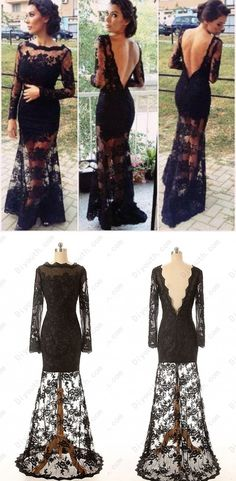 Black Lace Prom Dress,A Line Floor Length Evening Dress Backless,Long Sleeves Prom Dress,Bateau Neckline Prom Dress
