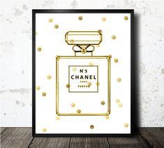 Chanel Art Print  Chanel Parfum Art Print  Gold by oneBLURpictures, $15.00