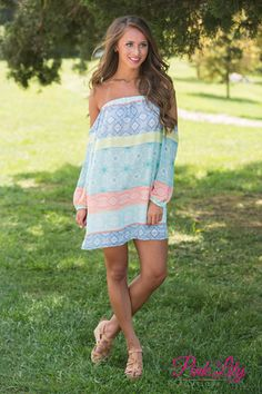 Around The Riverbend Off The Shoulder Dress