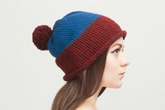 Colorful Pom Pom Knit Hat 3in1 Blue Hand Knitting by OneHatStore