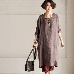 Women cotton linen loose fitting vintage short sleeve dress