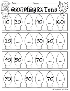 Worksheets Counting By 10 Worksheet printable math worksheets and count on pinterest counting by tens christmas winter themed literacy centers