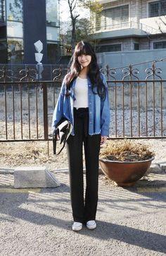 denim jacket + top/shirt + pants