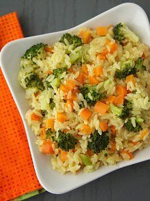 broccoli, carrot orzo for the kids. I processed the vegg way smaller than the picture shows and it was great for my 9 month old and my 3 year old.