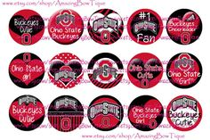 INSTANT DOWNLOAD Ohio State Buckeyes INSPIRED 4x6 Digital Printable 1 Inch Bottle Cap Images on Etsy, $2.20