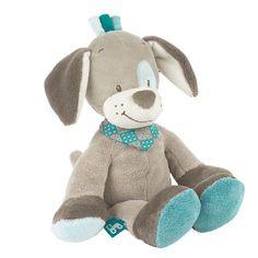 """""""Cyril"""" le chien gris et tout doux avec ses oreilles tombantes sera le premier compagnon de bébé : il adore faire des câlins et des bisous et rassure bébé quand il est triste. #cyrilpeluchechien36cm #peluchechien"""