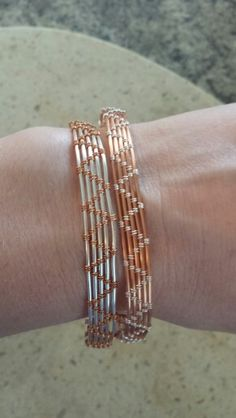 Wire wrapped copper and silver cuff bracelets EJGjewelry