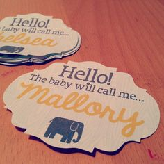 Baby shower name tags... by BeanBlossom, via Flickr