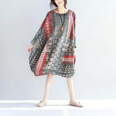 Linen Loose Women Printing Dress