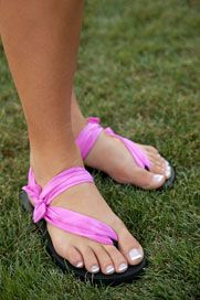 Sadie Jane shoes!  Flip flop type bottoms with interchangeable scarfs.  Comfy and brilliant!