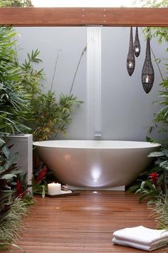 I Love this Garden Bathroom that was the winner of the i  My Bathroom via Reece Plumbing. I also LOVE our nest hanging tea light holders in this pic  Hanging Lantern Nests  featuring Lifestyle Home and Living www.lifestylehomeandliving.com.au