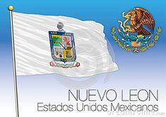 Nuevo Leon regional flag, United Mexican States, Mexico, vector illustration