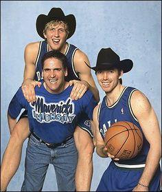 Dallas Mavericks owner Mark Cuban clowns around with his stars Dirk Nowitzki and Steve Nash.