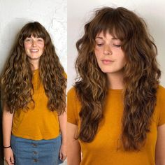 * Start Over Sunday! by --- a modern shag for the beautiful kelsey Thick Curly Hair, Curly Hair With Bangs, Curly Hair Cuts, Long Hair Cuts, Curly Hair Styles, Long Layered Curly Hair, Natural Wavy Hair Cuts, Long Hair With Bangs And Layers, Shaggy Curly Hair