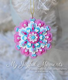 Handcrafted Polymer Clay Mini Floral Snowflake Ornament