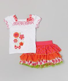 Take a look at the Red & White Ruffle Tank & Skirt - Girls on #zulily today!