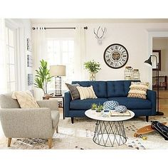 Having small living room can be one of all your problem about decoration home. To solve that, you will create the illusion of a larger space and painting your small living room with bright colors c… Coastal Living Rooms, Living Room Interior, Home Living Room, Living Room Designs, Living Room Decor Canada, Cottage Living, Coastal Cottage, Blue Couch Living Room, Living Room Remodel