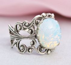 SALE Silver Opal Ring,Silver Filigree Ring,Vintage White Glass Pinfire Opal,STURDY Adjustable Ring,Bridesmaids Jewelry,Birthstone Jewelry