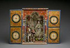 Portable Altar with Virgen de los Remedios. La Paz, Bolivia, late 19th century. Maguey, gesso, wood, paint, fabric, metal. (Museum of International Folk Art, Santa Fe, New Mexico)