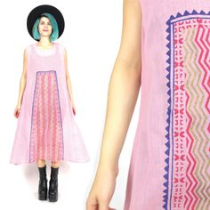 Vintage Indian Dress Pink Sari Ethnic Dress Sleeveless Cotton Dress Festival Hand Painted Dress Stamped Print Summer Boho Hippie Dress (M/L)