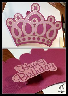 princess birthday card - this would be cute using wobblers for the inside word