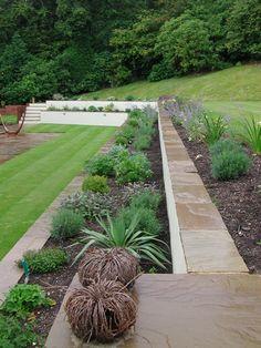 Hillside garden with planted terracing