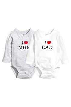 2-pack wrapover bodysuits - White - Kids   H&M GB 1