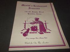 Vintage Maxims Restaurant Francais Menu Houston Texas French Restaurant w Map