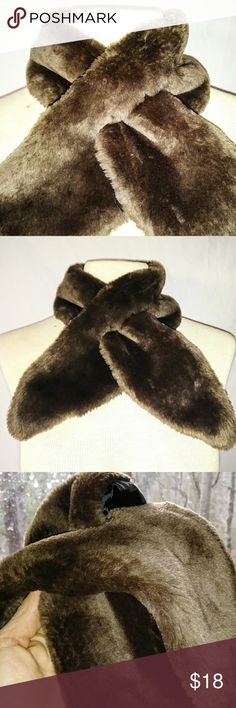 #hundredsofscarves: FAUX Fur Keyhole Stole Scarf Vintage Warm Brown Faux Fur Stole Neck Scarf with Key Hole and Silky Lining. In excellent used condition. From a smoke free home. Make an offer! BUNDLE & Automatically Get 20% Off on 2+ Items. Bundle one or more items and I'll make you a private offer up to 40% off - the bigger the bundle the bigger the savings! *Hundreds of Scarves @gratefulbox = POSH AMBASSADOR at yr service!* Vintage Accessories Scarves & Wraps