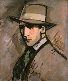 Self Portrait: The Grey Hat, 1909 by John Duncan Fergusson (Scottish 1874-1961)