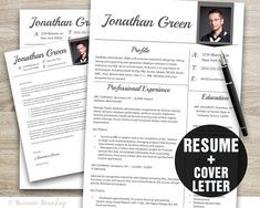 Resume Template  Resume Cover Letter Template  by BusinessBranding, $15.00